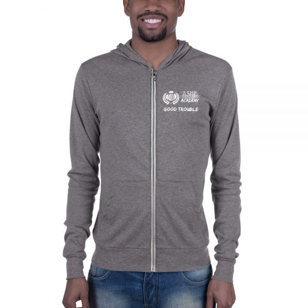 Man wearing Grey Triblend Zip Hoodie front view The Ashe Academy Store