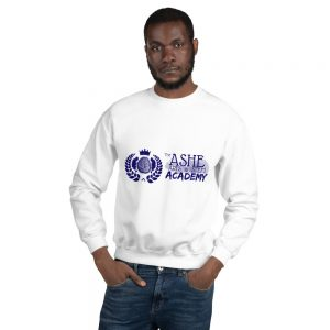 Man wearing White Sweatshirt front view The Ashe Academy Store