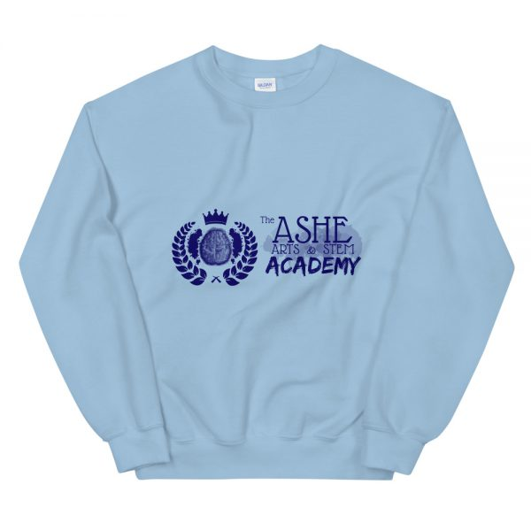 Light Blue Sweatshirt front view The Ashe Academy Store