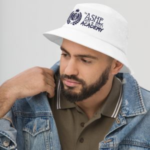 Man wearing White Bucket Hat facing right The Ashe Academy Store