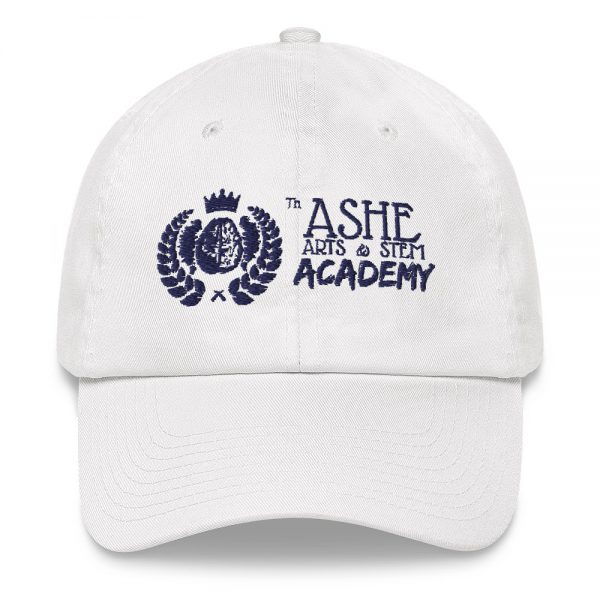 White Ballcap close up front view The Ashe Academy Store