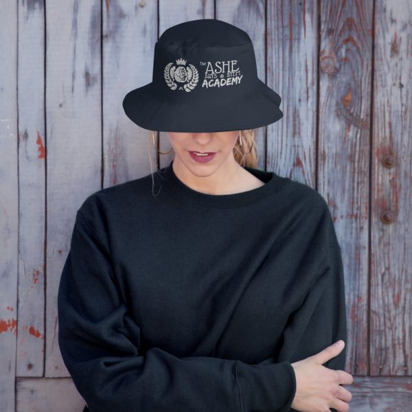 Woman wearing Navy Bucket Hat front view The Ashe Academy Store