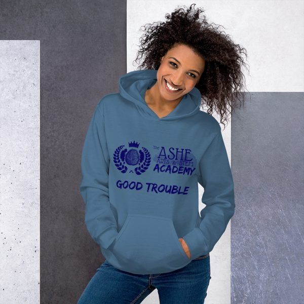 Woman wearing Indigo Blue Good Trouble Hoodie standing at an angle front view The Ashe Academy Store