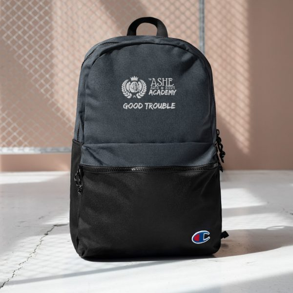 Heather Black / Black Good Trouble Backpack with background The Ashe Academy Store