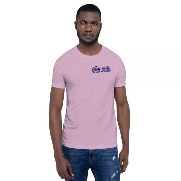 Man wearing Heather Prism Lilac short sleeve Social Distancing T-Shirt front view The Ashe Academy Store