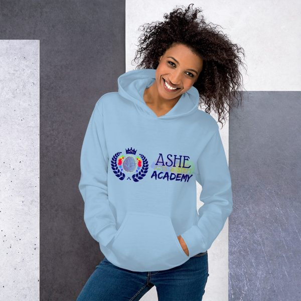 Woman wearing Light Blue Inspire Uplift Engage Hoodie standing at an angle front view The Ashe Academy Store