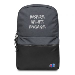 Heather Black / Black Inspire Uplift Engage Backpack Front view The Ashe Academy Store