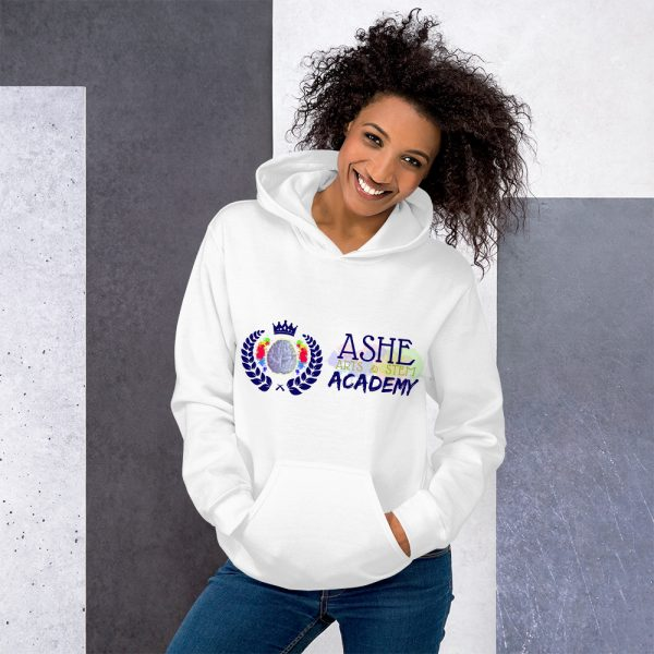 Woman wearing White Inspire Uplift Engage Hoodie standing at an angle front view The Ashe Academy Store