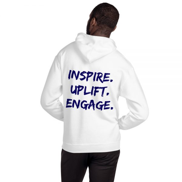 Man wearing White Inspire Uplift Engage Hoodie with hood off back view The Ashe Academy Store