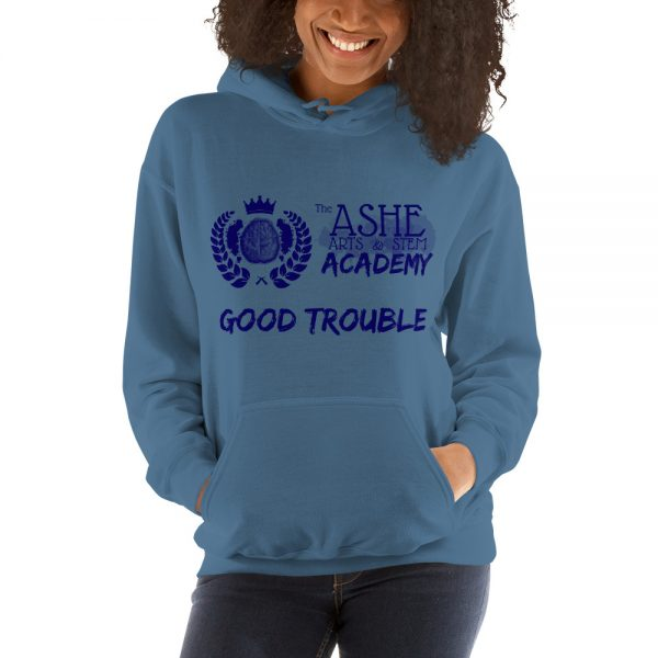 Woman wearing Indigo Blue Good Trouble Hoodie front view The Ashe academy store