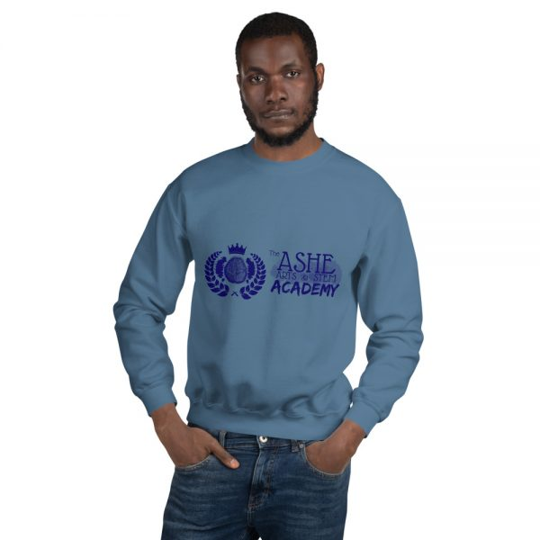 Man wearing Indigo Blue Sweatshirt front view The Ashe Academy Store