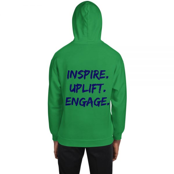Man wearing Irish Green Inspire Uplift Engage Hoodie with hood on back view The Ashe Academy Store