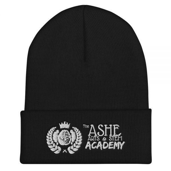 Black Beanie front view The Ashe Academy Store