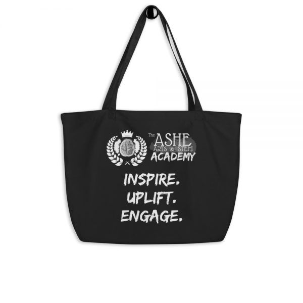 Black Tote Bag hanging The Ashe Academy Store