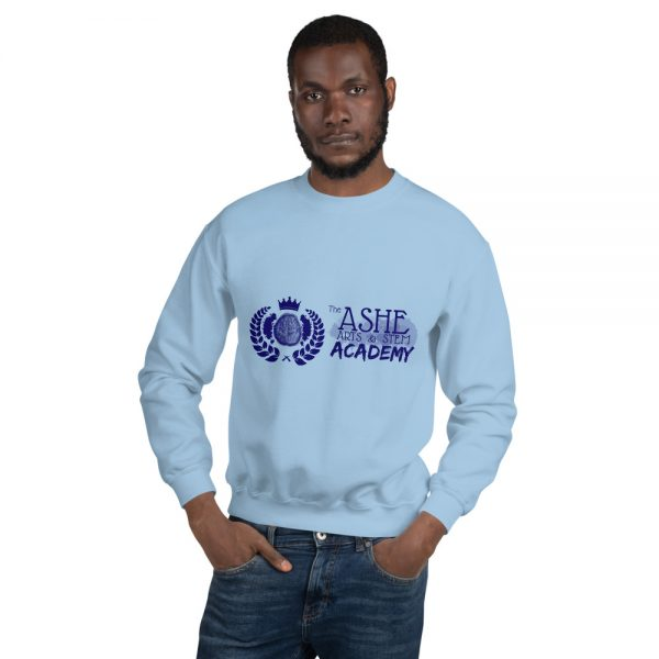 Man wearing Light Blue Sweatshirt front view The Ashe Academy Store