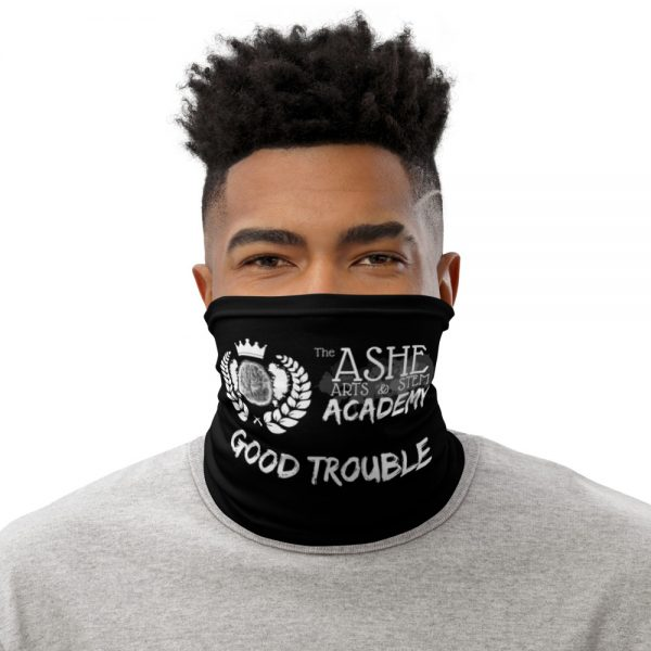 Man wearing Black Neck Gaiter Front view The Ashe Academy Store