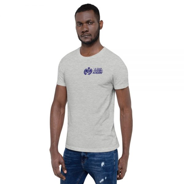 Man wearing Athletic Heather short sleeve Social Distancing T-Shirt facing right The Ashe Academy Store