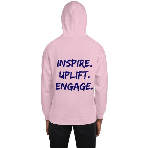 Man wearing Light Pink Inspire Uplift Engage Hoodie with hood on back view The Ashe Academy Store