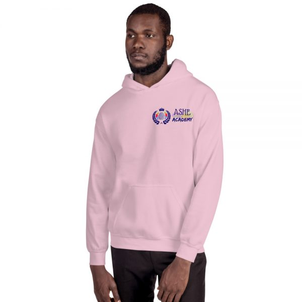 Man wearing Light Pink Inspire Uplift Engage Hoodie facing right The Ashe Academy Store