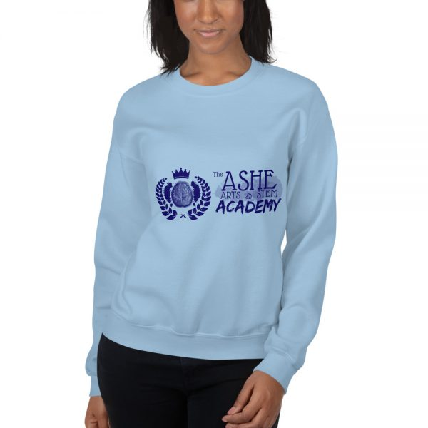 Woman wearing Light Blue Sweatshirt close up front view The Ashe Academy Store
