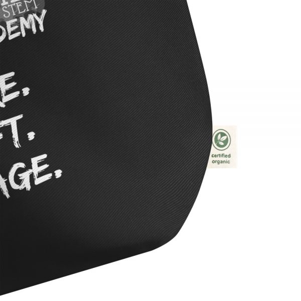 Black Tote Bag Left Bottom corner view The Ashe Academy Store