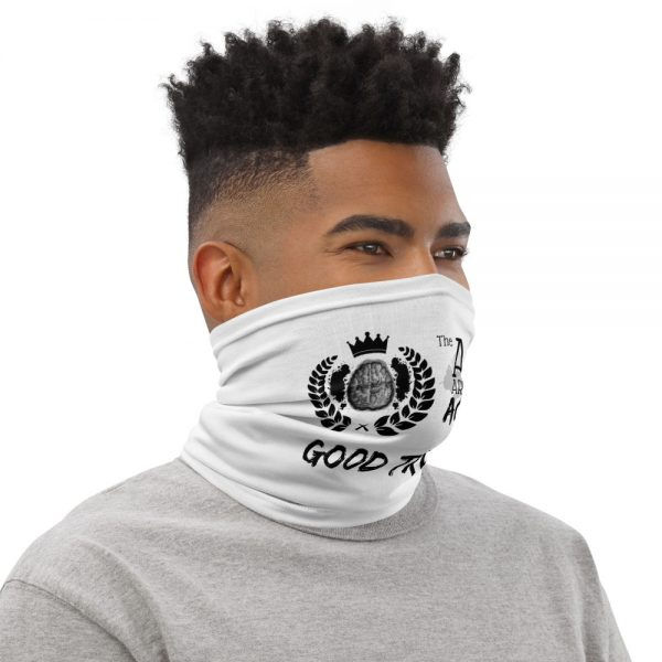 Man wearing White Neck Gaiter Right side profile The Ashe Academy Store