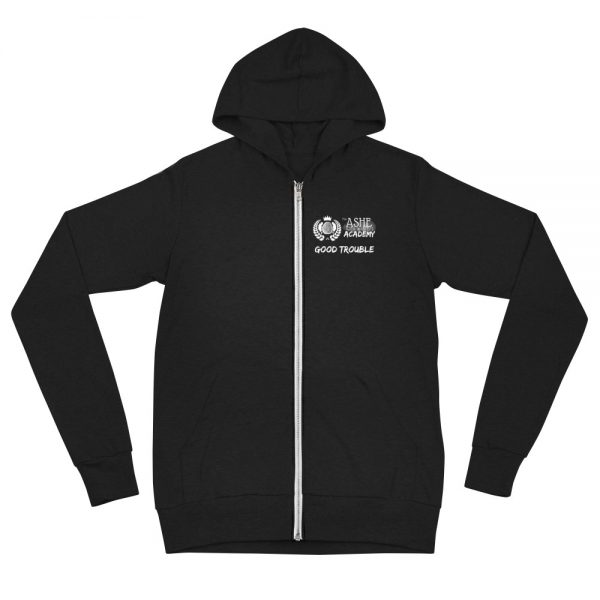 Solid Black Triblend Social Distancing Zip Hoodie front view The Ashe Academy Store