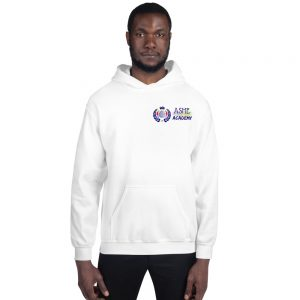 Man wearing White Inspire Uplift Engage Hoodie front view The Ashe Academy Store