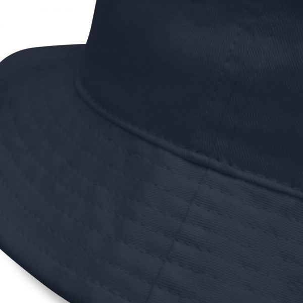 Close up on brim of Navy Bucket Hat The Ashe Academy Store