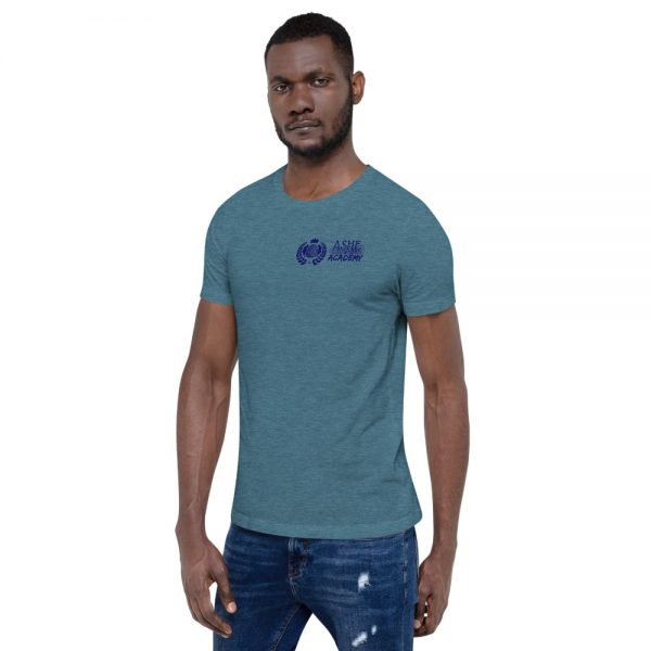 Man wearing Heather Deep Teal short sleeve Social Distancing T-Shirt facing right The Ashe Academy Store
