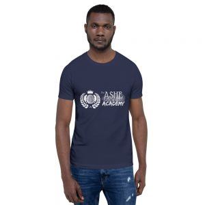 Man wearing Navy short sleeve Social Distancing T-Shirt front view The Ashe Academy Store