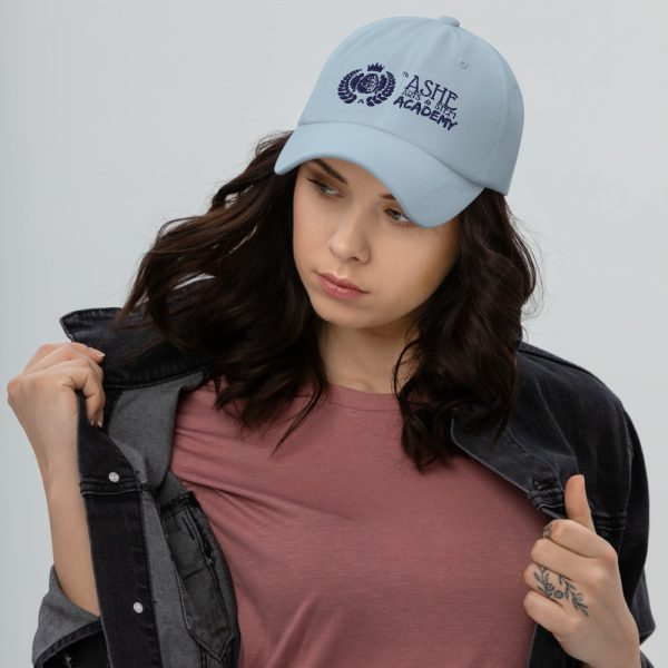 Woman wearing Light Blue Ballcap facing right The Ashe Academy Store