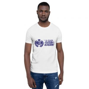 Man wearing White short sleeve Social Distancing T-Shirt and blue jeans front view The Ashe Academy Store