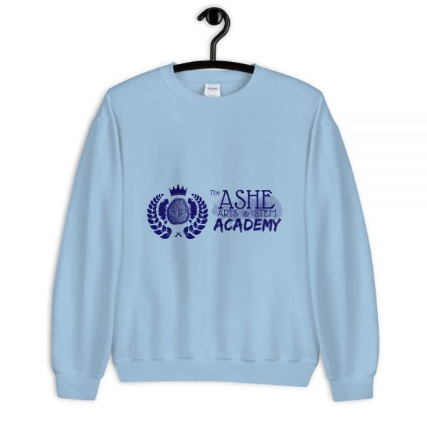 Light Blue Sweatshirt on hanger front view The Ashe Academy Store