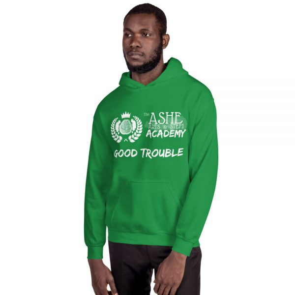Man wearing Irish Green Good Trouble Hoodie facing right The Ashe Academy Store