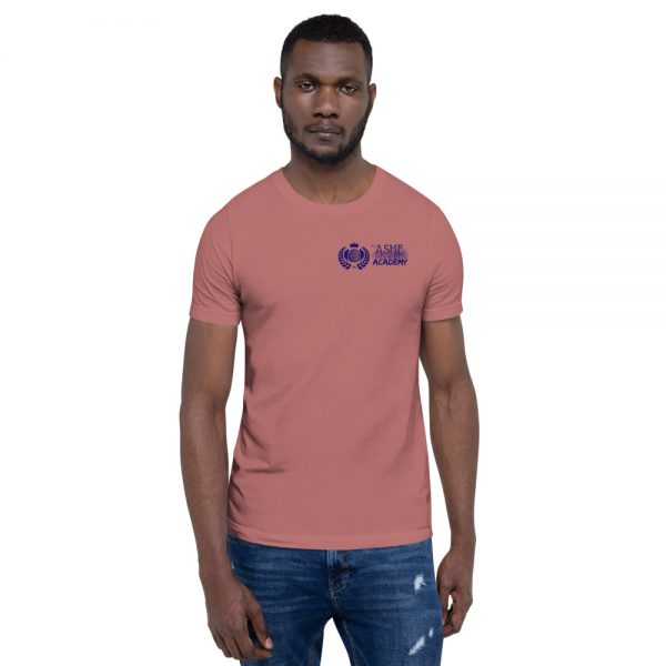 Man wearing Mauve short sleeve Social Distancing T-Shirt front view The Ashe Academy Store