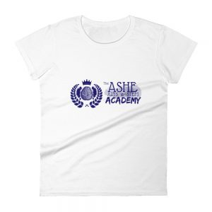 Women's White front view short sleeve Social Distancing T-Shirt The Ashe Academy Store