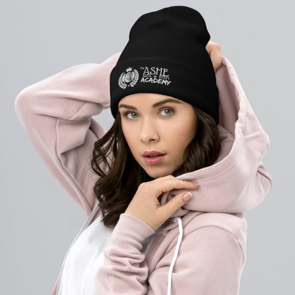 Woman wearing black beanie facing right The Ashe Academy Store