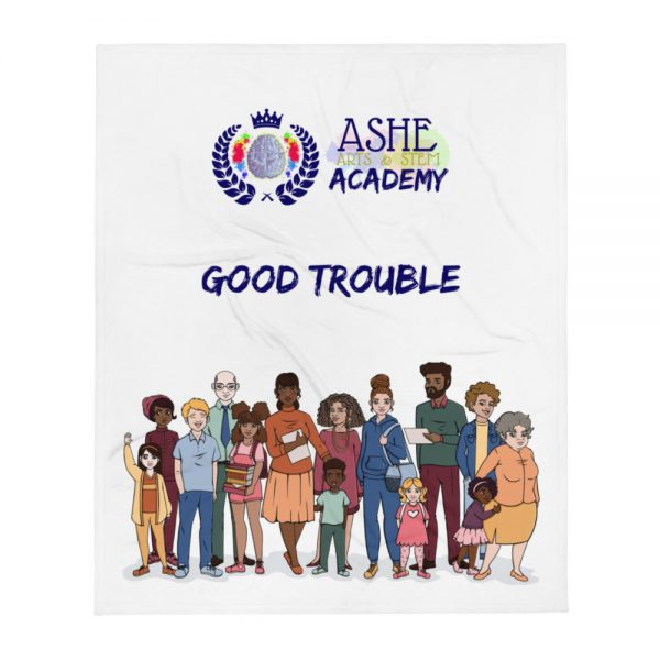 Good Trouble Throw Blanket The Ashe Academy Store