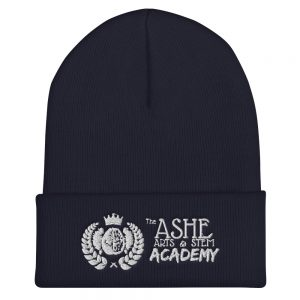 Navy Beanie front view The Ashe Academy Store