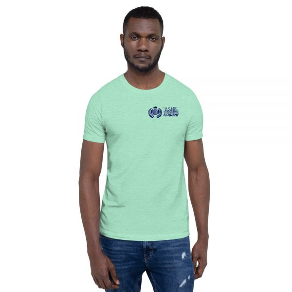 Man wearing Heather Mint short sleeve Social Distancing T-Shirt front view The Ashe Academy Store