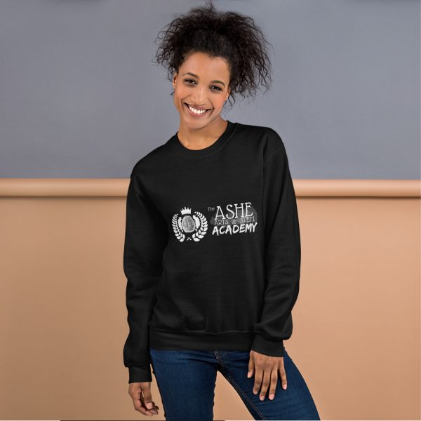 Woman with hair up wearing Black Sweatshirt standing at an angle front view The Ashe Academy Store