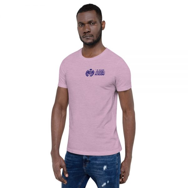 Man wearing Heather Prism Lilac short sleeve Social Distancing T-Shirt facing right The Ashe Academy Store