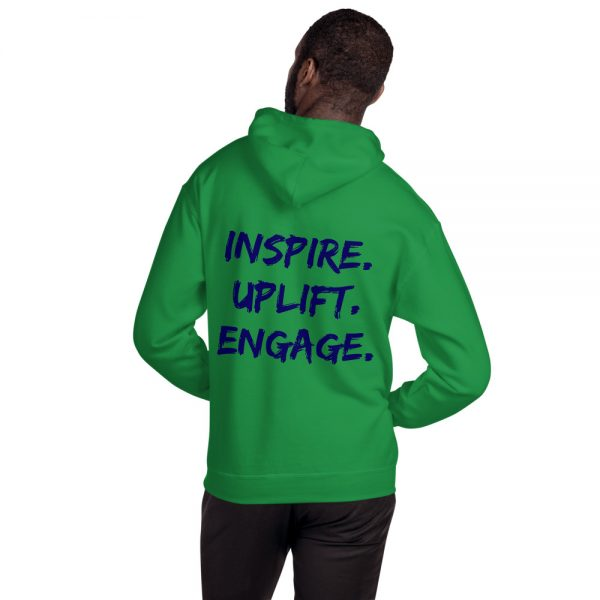 Man wearing Irish Green Inspire Uplift Engage Hoodie with hood off back view The Ashe Academy Store