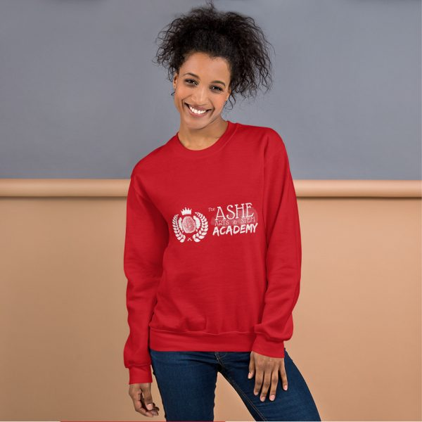 Woman with hair up wearing Red Sweatshirt standing at an angle front view The Ashe Academy Store