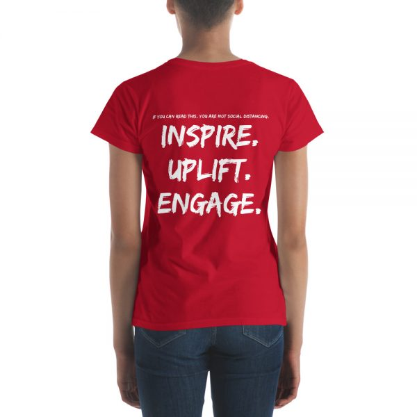 Woman wearing Red short sleeve Social Distancing T-Shirt back view The Ashe Academy Store