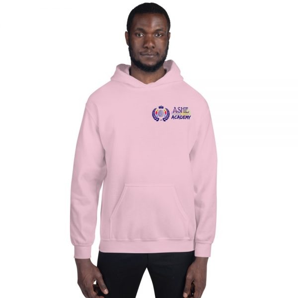 Man wearing Light Pink Inspire Uplift Engage Hoodie front view The Ashe Academy Store
