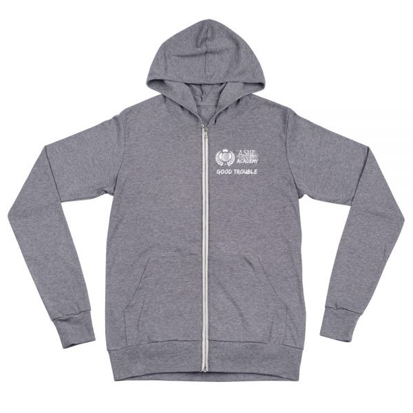 Grey Triblend Social Distancing Zip Hoodie front view The Ashe Academy Store