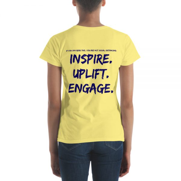 Woman wearing Spring Yellow short sleeve Social Distancing T-Shirt back view The Ashe Academy Store