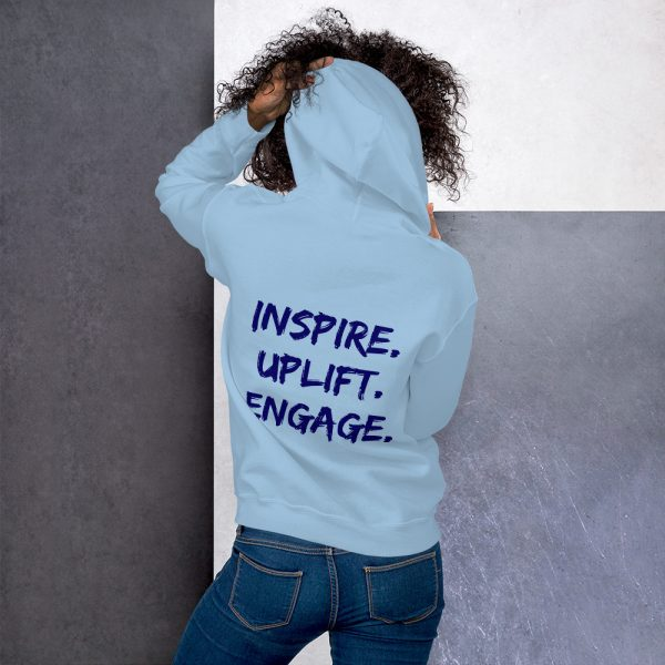 Woman wearing Light Blue Inspire Uplift Engage Hoodie back view The Ashe Academy Store